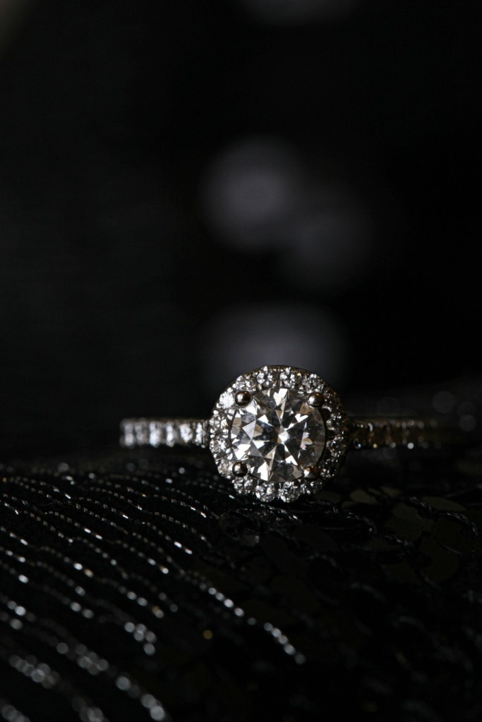 Wedding ring with black background