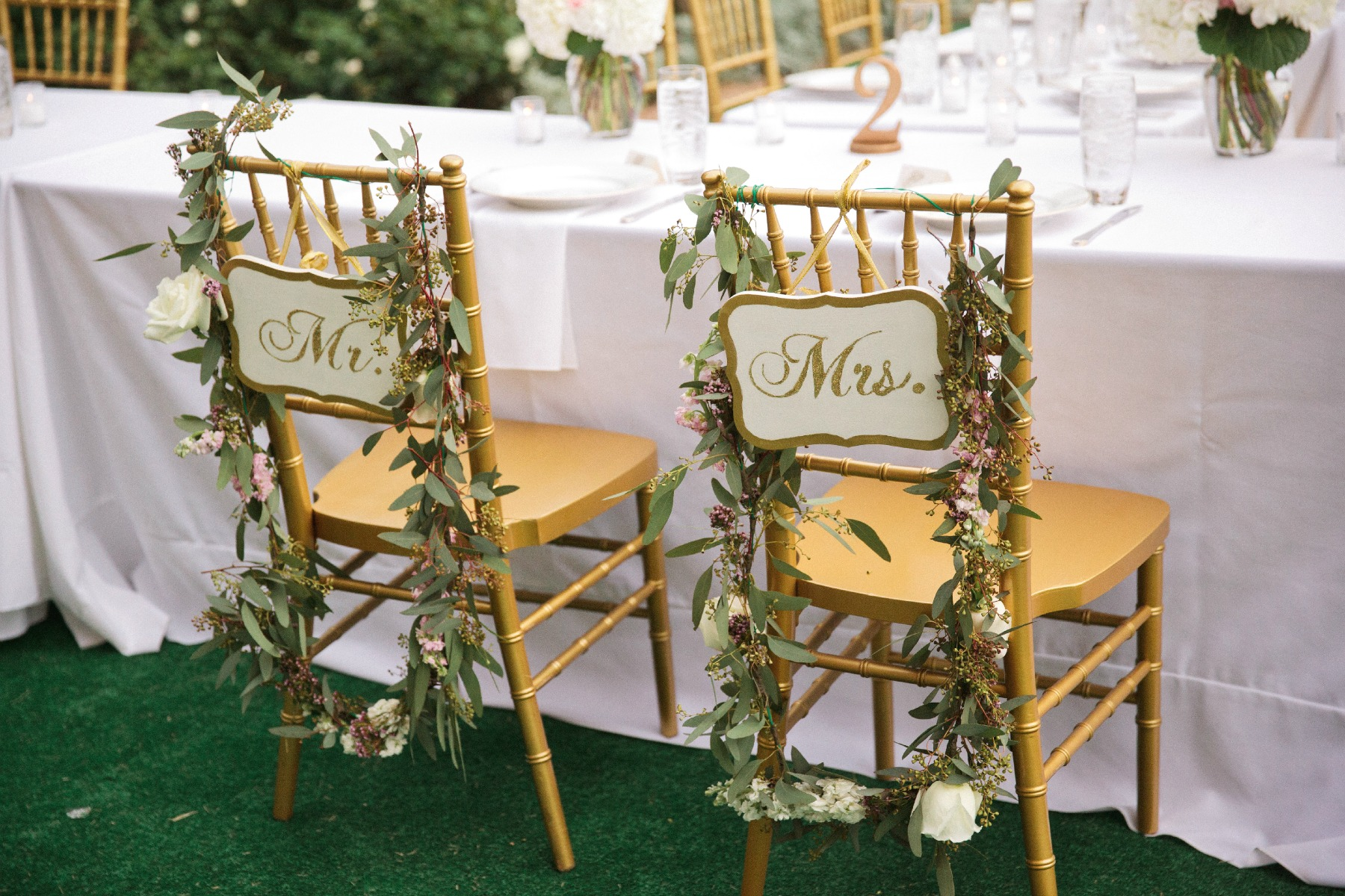 decorated Mr. and Mrs. gold chivalri chairs