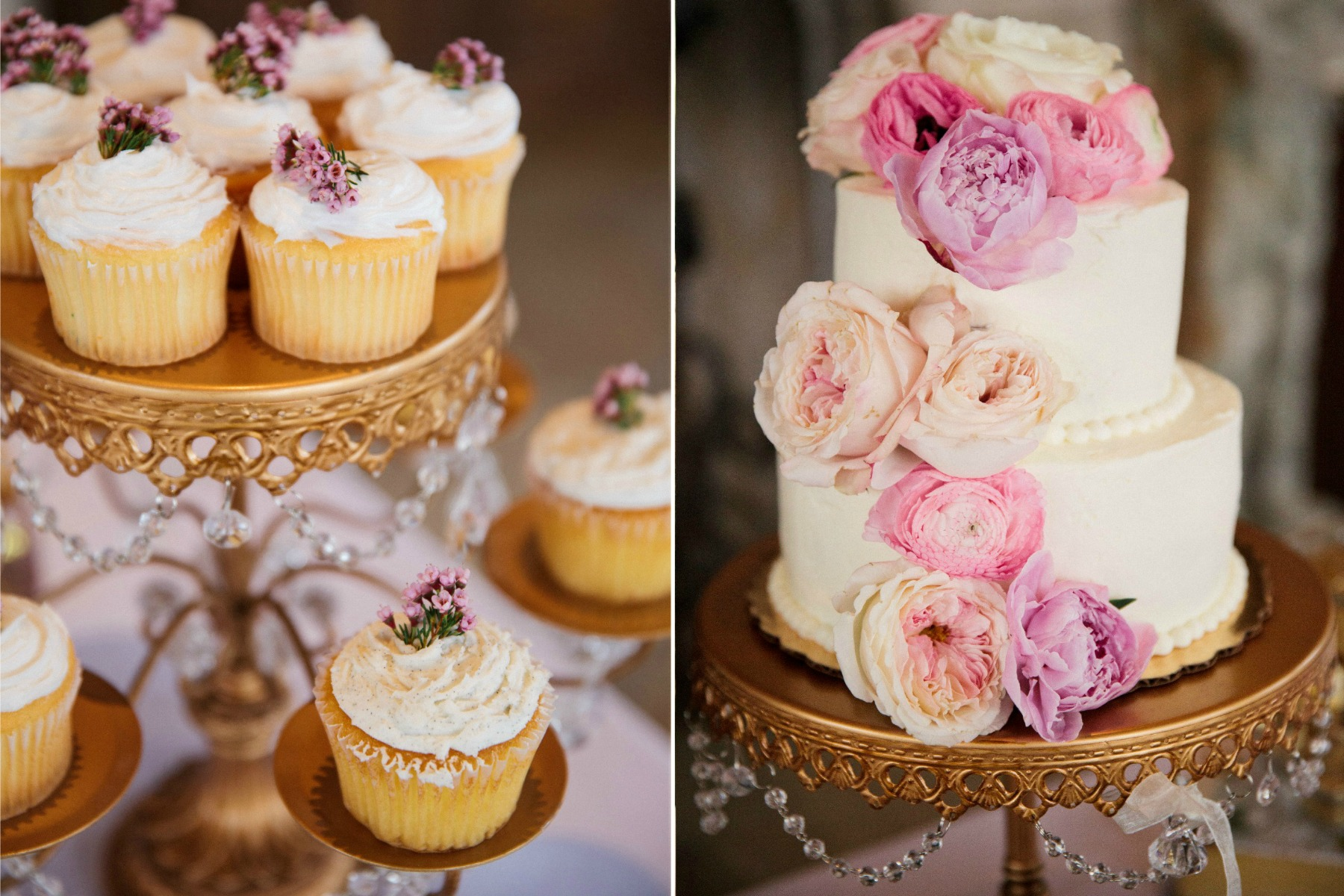cupcakes and wedding cake with flowers on gold cake stand