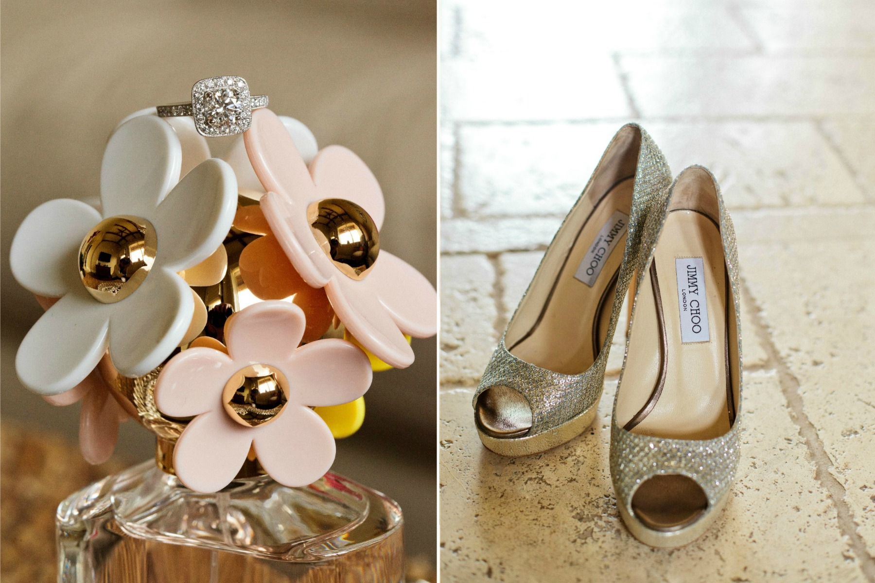 the bride's engagement ring on a daisy perfume bottle and jimmy choo shoes