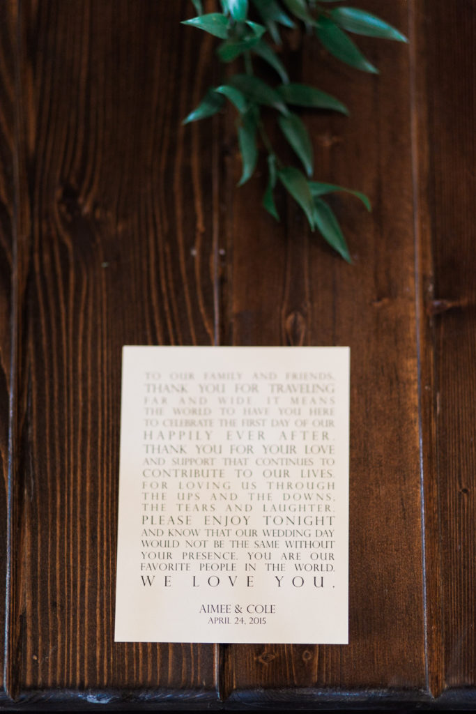 bride and groom thank you note to guests